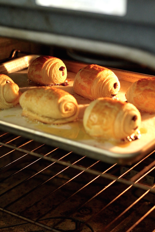 chocolate croissants in oven