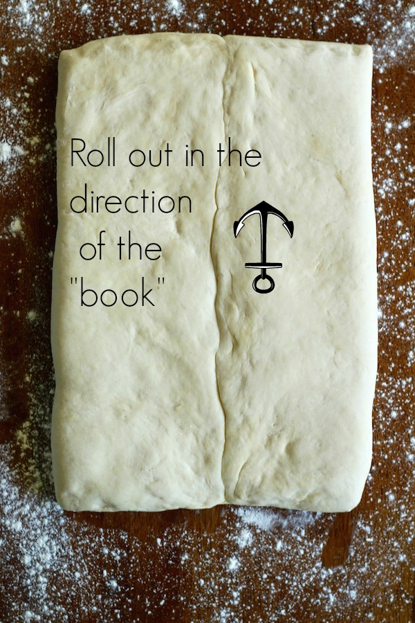 croissant dough with the book text