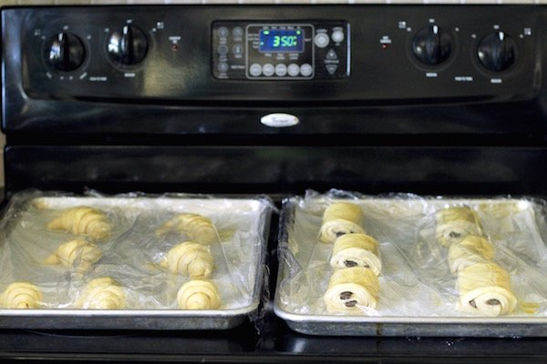 croissants proofing on stove top