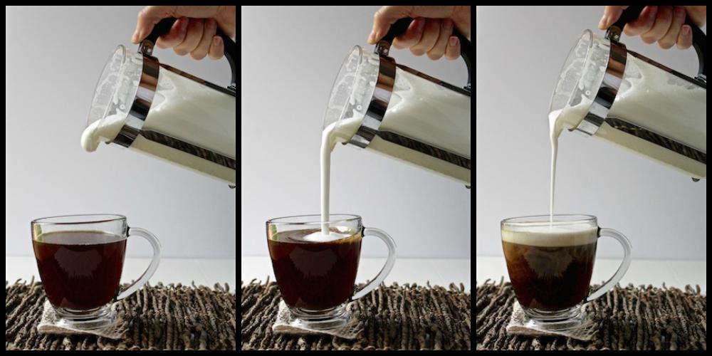 french press milk foam collage
