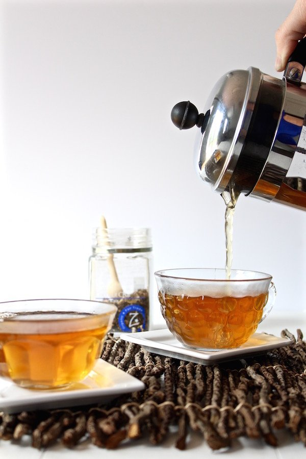 tea french press poured