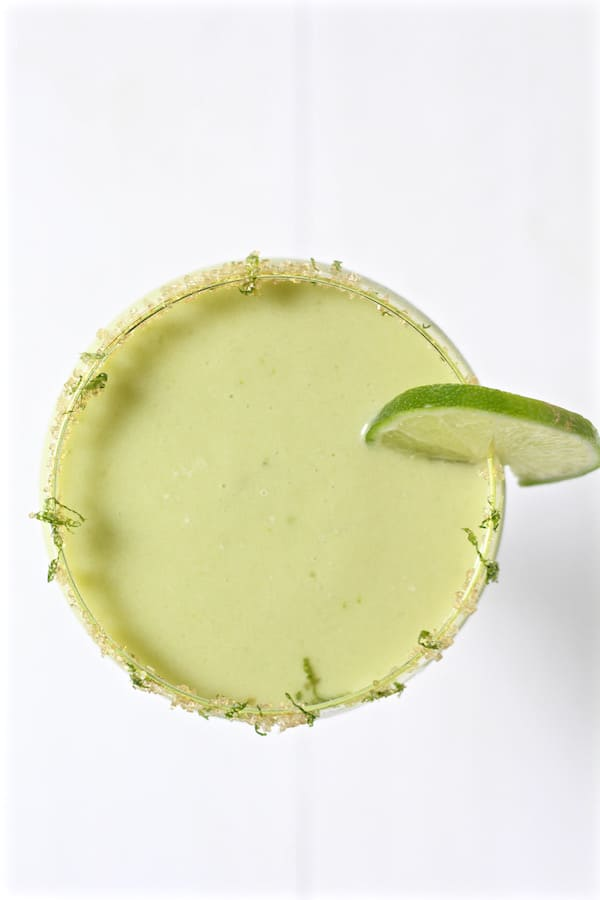 jalapeno infused avocado cucumber cocktail overhead