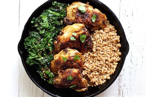 crispy chicken kale farro salad 2