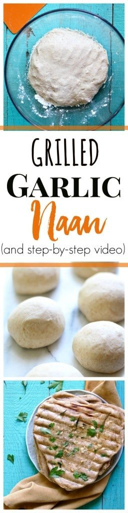 Grilled Garlic Naan Bread is the perfect flatbread recipe to serve along with curries, and can also serve as a taco shell or pizza dough!