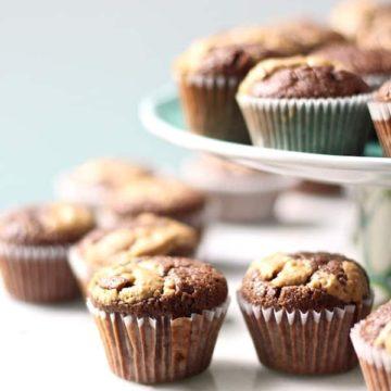chocolate peanut butter browned butter mini cupcakes...ooh la la!