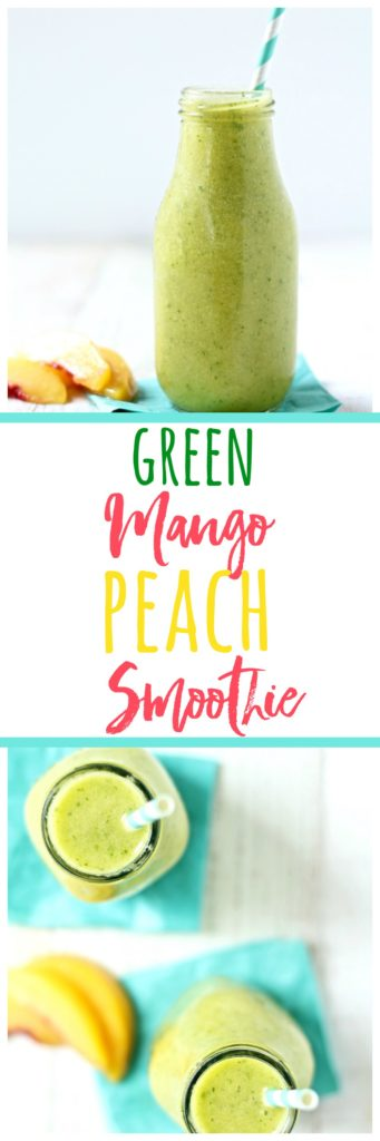 This green mango peach smoothie is incredibly refreshing, dairy free, and vegan, and has two nutritional add-on options. A vegan option, and a collagen powder that is an excellent bone broth substitute!