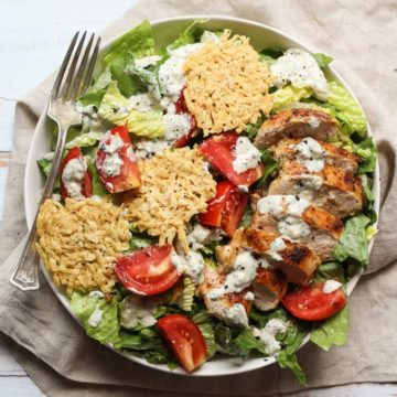 Healthy Chicken Caesar Salad on a plate