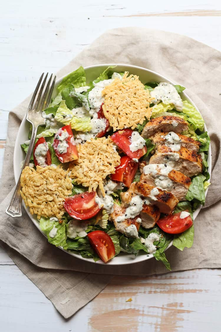 Healthy Chicken Caesar Salad on a plate