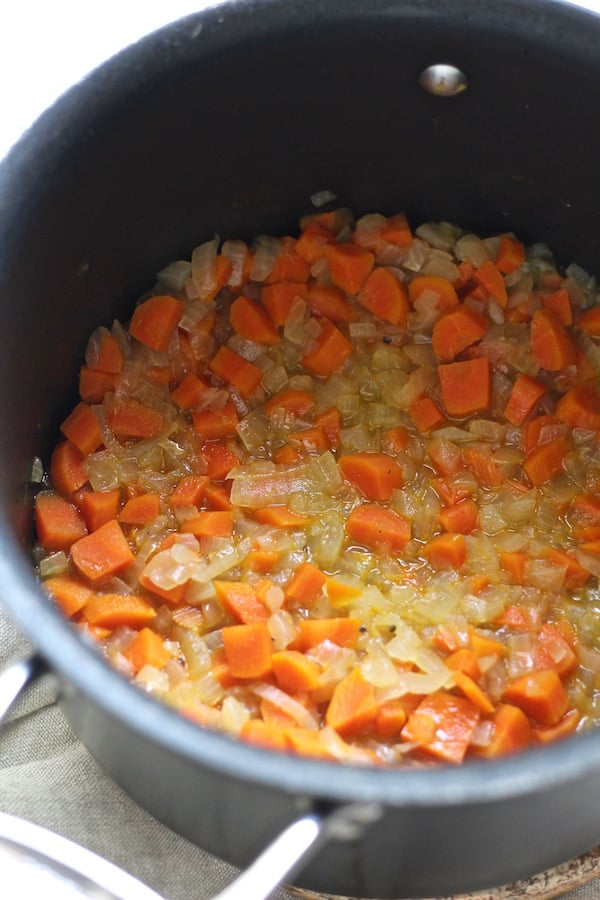 Carrots and onions simmered in beer for beer quiche
