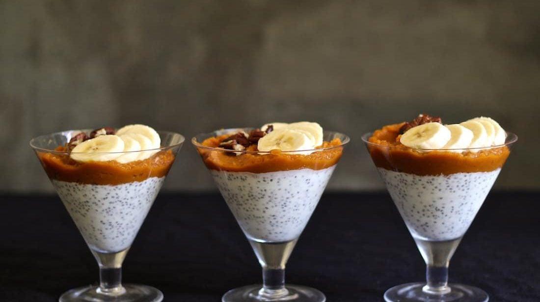 Pumpkin Chai Chia Pudding recipe breakfast with bananas