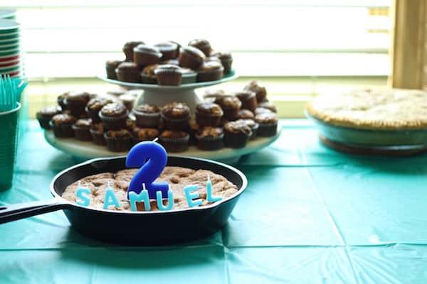 Birthday skillet cookie