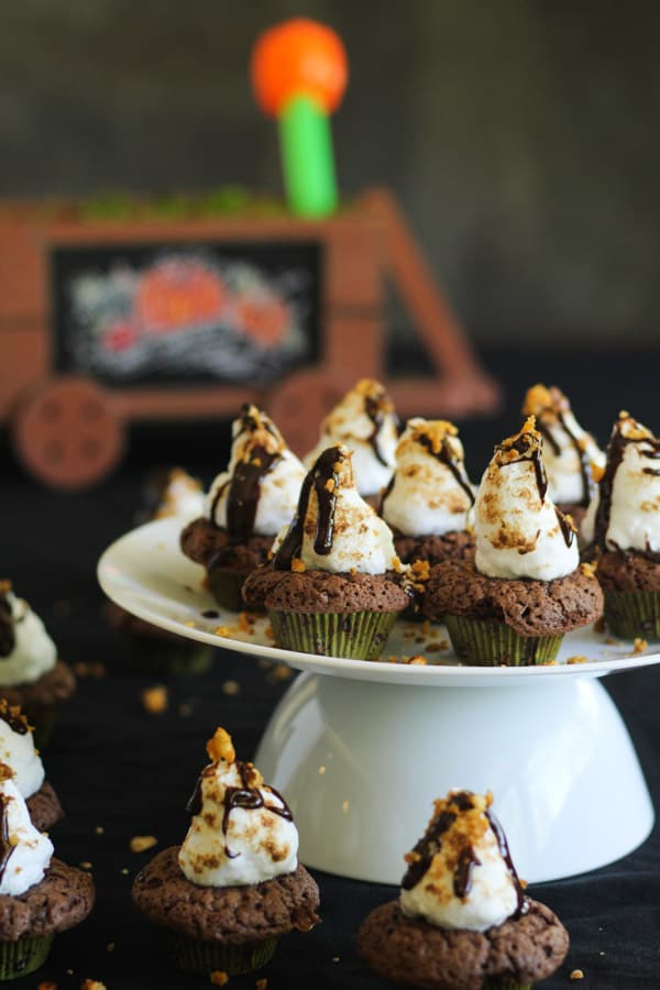 Chocolate browned butter smores cupcakes with buttered crushed pretzels