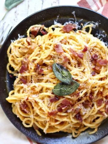 pumpkin ricotta pasta carbonara recipe with crispy sage