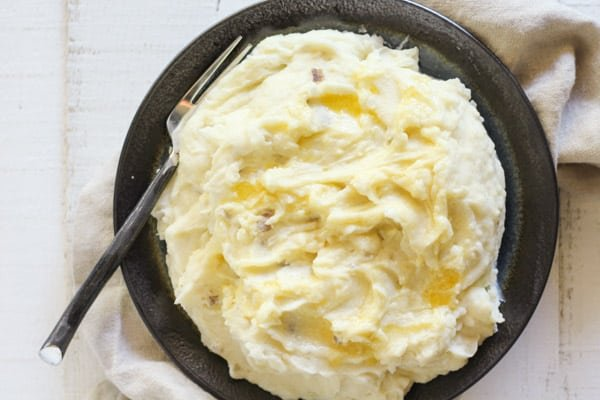 Creme fraiche mashed potatoes on a plate