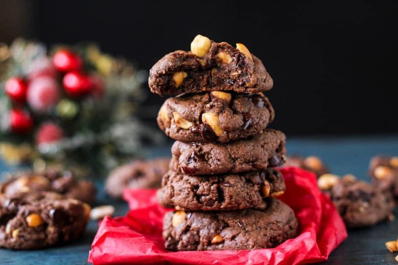 Triple chocolate hazelnut orange cookies!