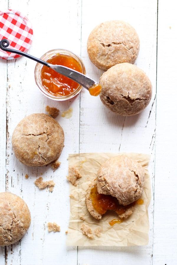 Sourdough Spelt biscuits overhead