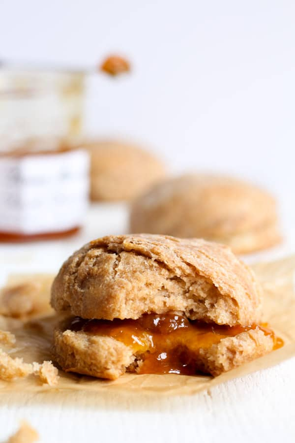 Sourdough spelt biscuits with peach jam