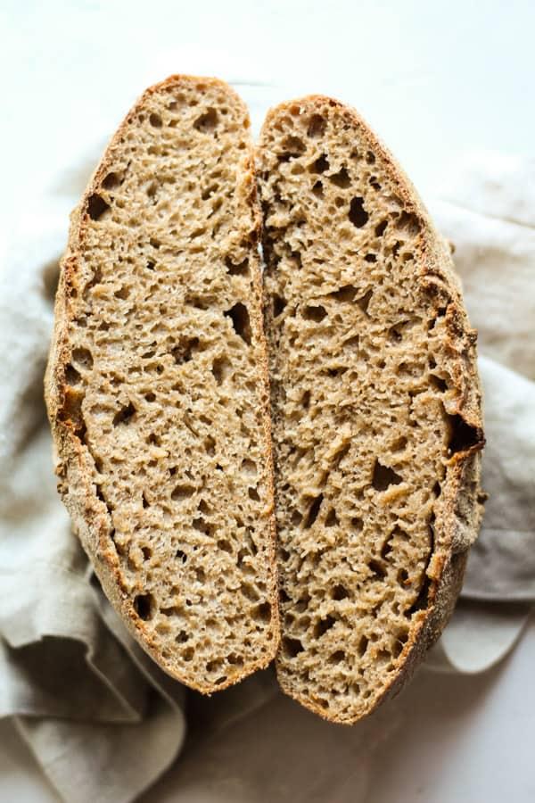 Sourdough honey spelt bread cut in half