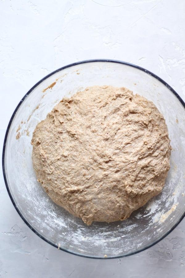 Sourdough honey spelt bread dough mixed