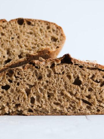 Sourdough honey spelt bread interior
