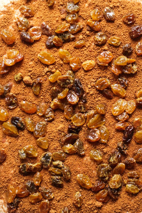 cinnamon raisin bread filling up close