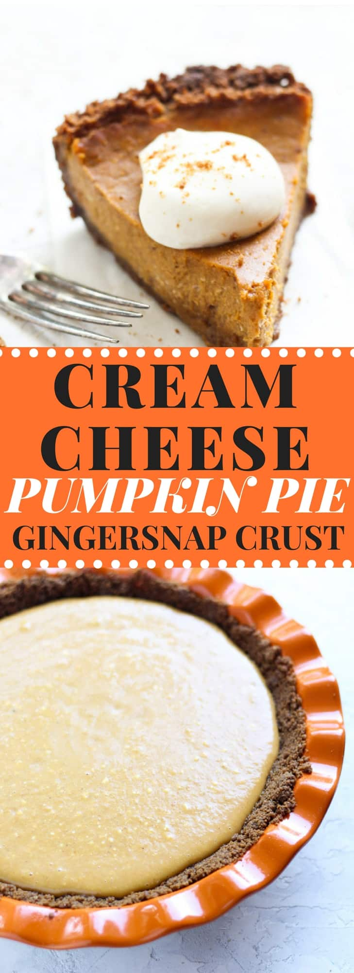 Cream Cheese Pumpkin Pie with Gingersnap Crust Recipe and Video! Fluffy and creamy pumpkin pie filling with a cookie crust is so easy to make