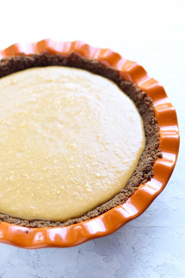 Cream Cheese Pumpkin Pie filled just before baking