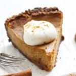 The BEST Cream Cheese Pumpkin Pie with a gingersnap crust!