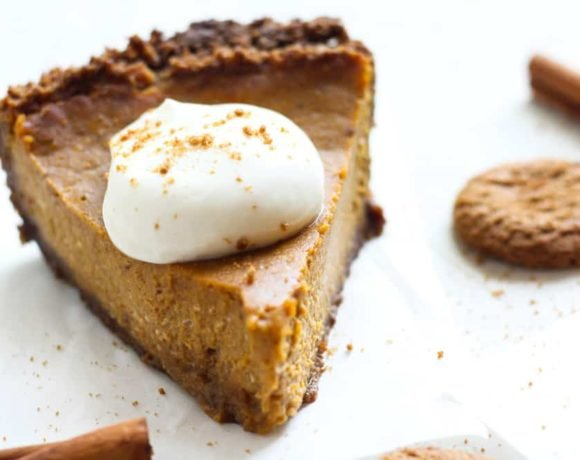 Cream cheese pumpkin pie with gingersnap crust and pumpkin spice