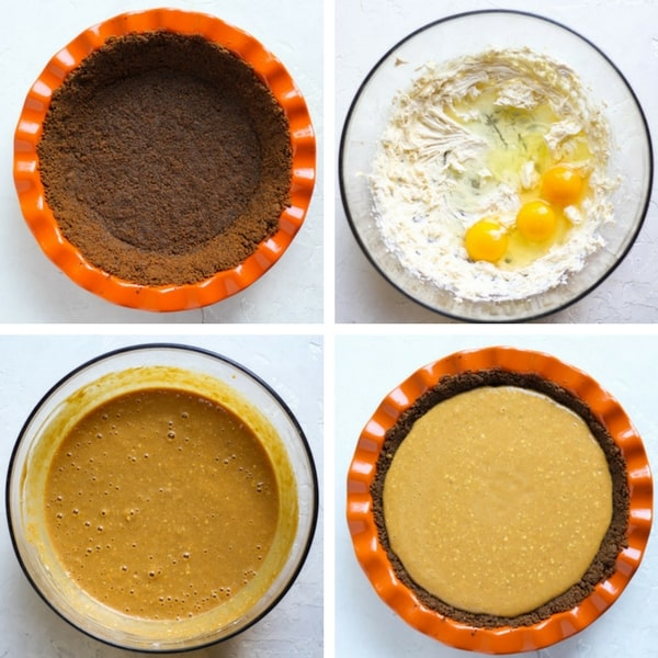 Cream Cheese Pumpkin Pie filling with a gingersnap crust