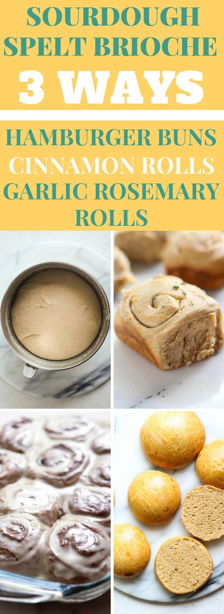 Learn 3 ways to make sourdough spelt brioche dough. Transform them into sourdough cinnamon rolls, garlic rosemary rolls, and hamburger brioche buns
