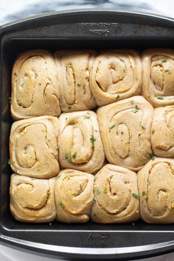 Sourdough Spelt Brioche Garlic Rosemary Rolls Baked