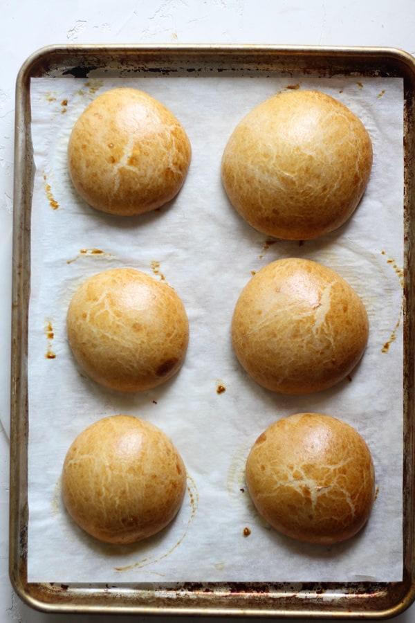 Sourdough Spelt Brioche Hamburger Buns baked
