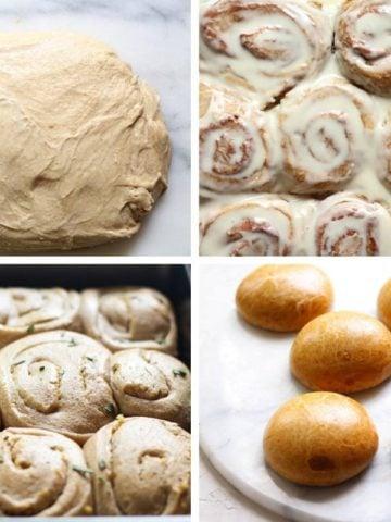 Sourdough Cinnamon rolls, hamburger buns, and garlic rosemary rolls