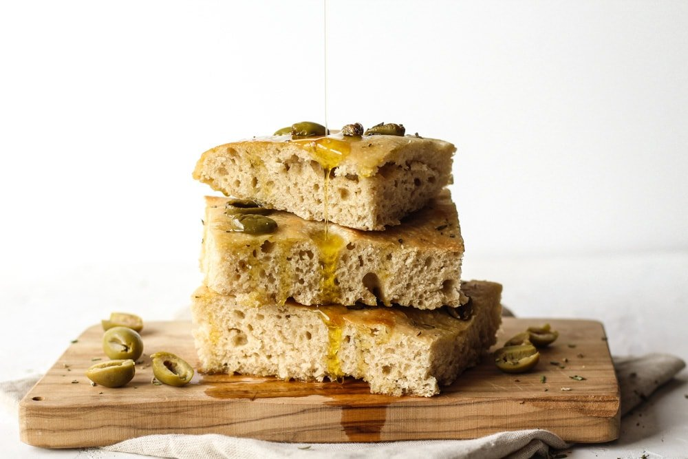 Sourdough Olive Focaccia Bread Recipe with olive oil