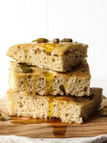 Sourdough Focaccia artisan bread with loivrs and rosemary