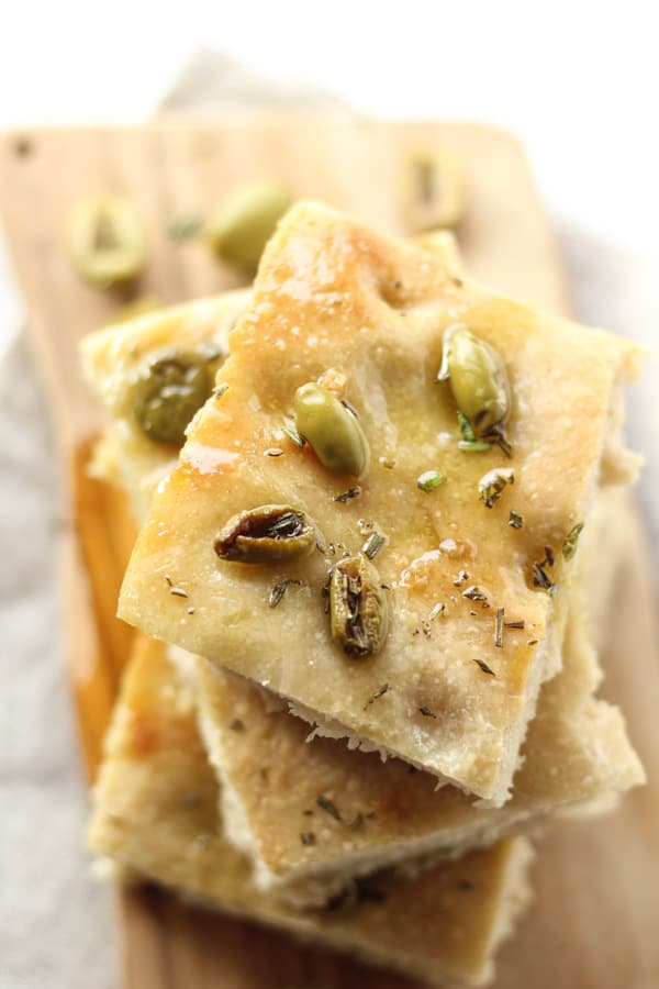 Sourdough Focaccia Bread with loive oil, olives, and rosemary