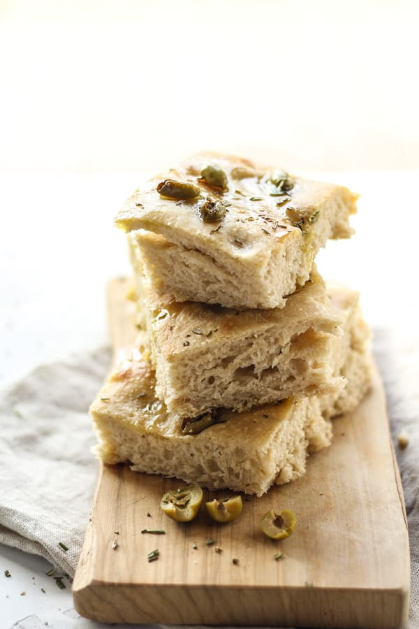 Sourdough Focaccia Bread Recipe with olives and rosemary