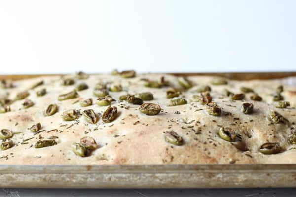 Sourdough Focaccia Bread with olives and rosemary baked