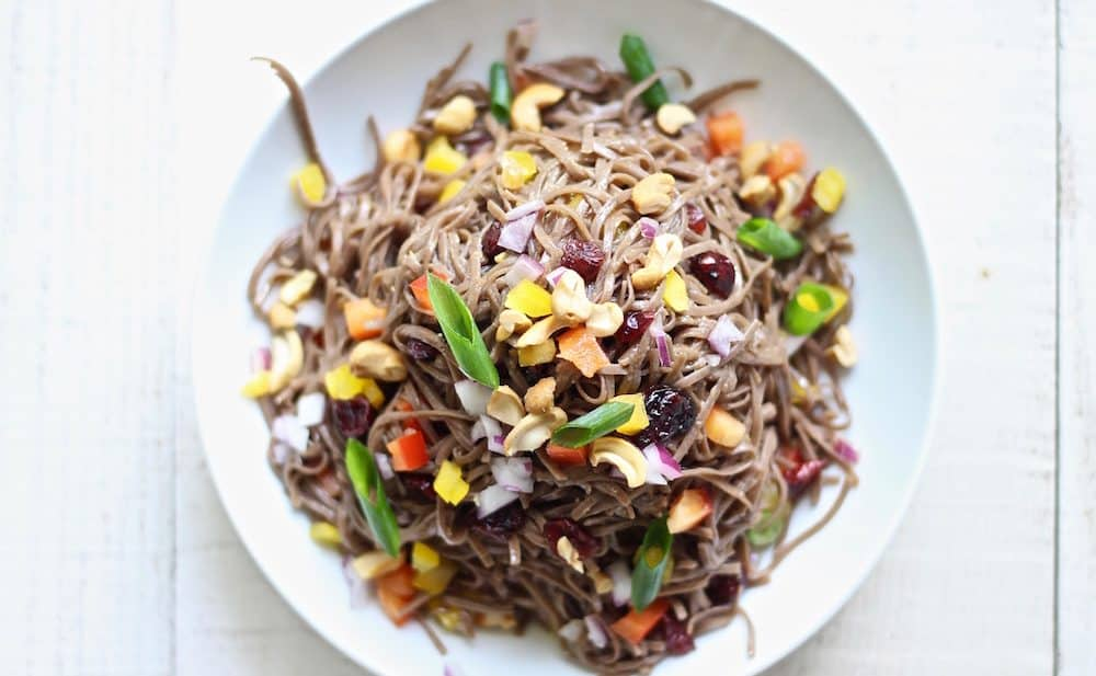 Cold Tahini Soba noodle Salad with bell peppers