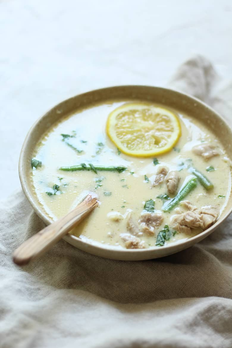 Easy Greek Avgolemono soup recipe with bone broth, cauliflower rice, and green beans. Paleo and low carb