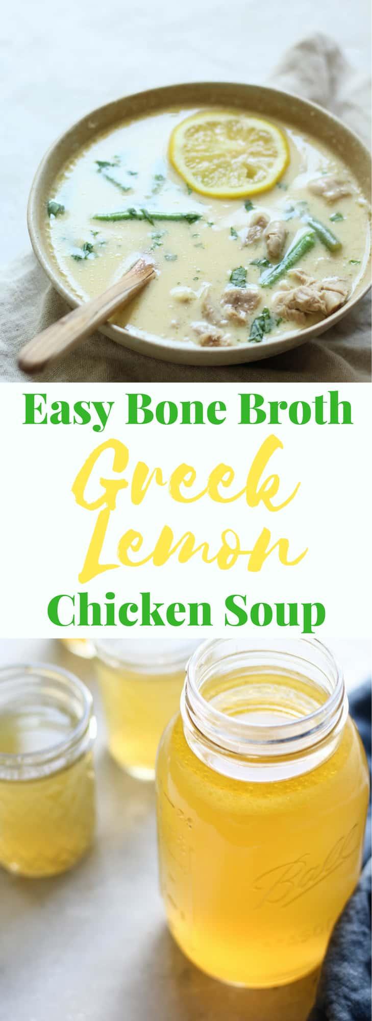 Easy Greek Lemon Chicken Soup Recipe with Bone Broth