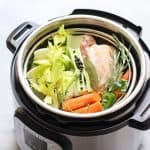 Chicken Bone Broth and ingredients in an instant pot