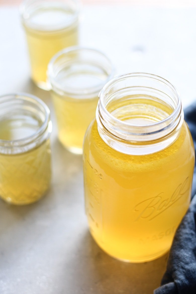 Instant pot chicken bone broth in mason jars