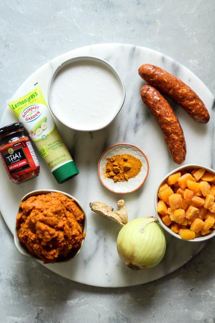 Thai pumpkin butternut squash and cajun sausage bone broth soup ingredients