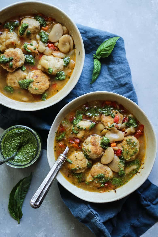 Bone Broth White Bean Chicken Meatball soup recipe with pesto