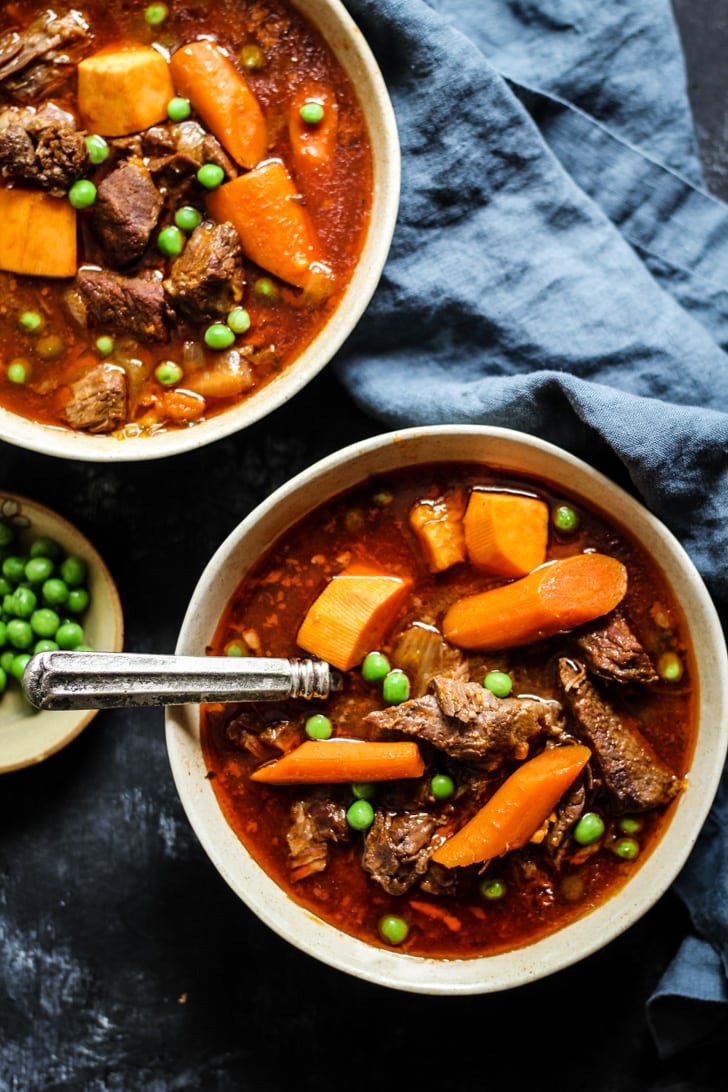 Instant Pot Beef Stew Recipe with peas, carrots, onions and bone broth