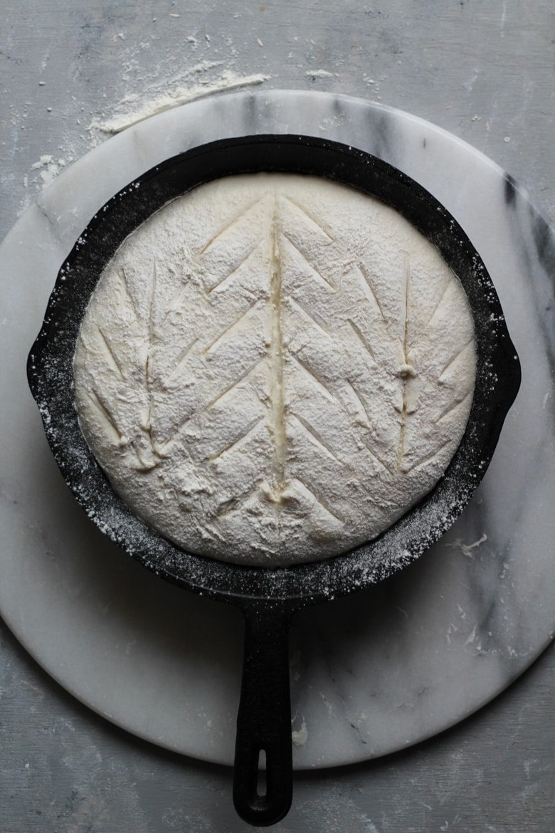 Sourdough bread recipe scoring for a boule or round loaf