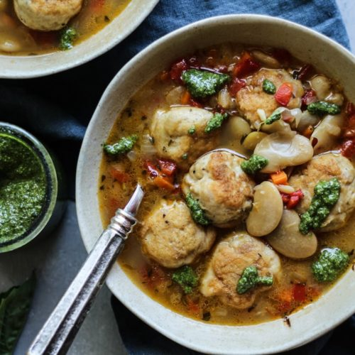 White Bean Chicken Meatball Soup with pesto and chicken bone broth