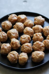 Chicken meatballs rolled